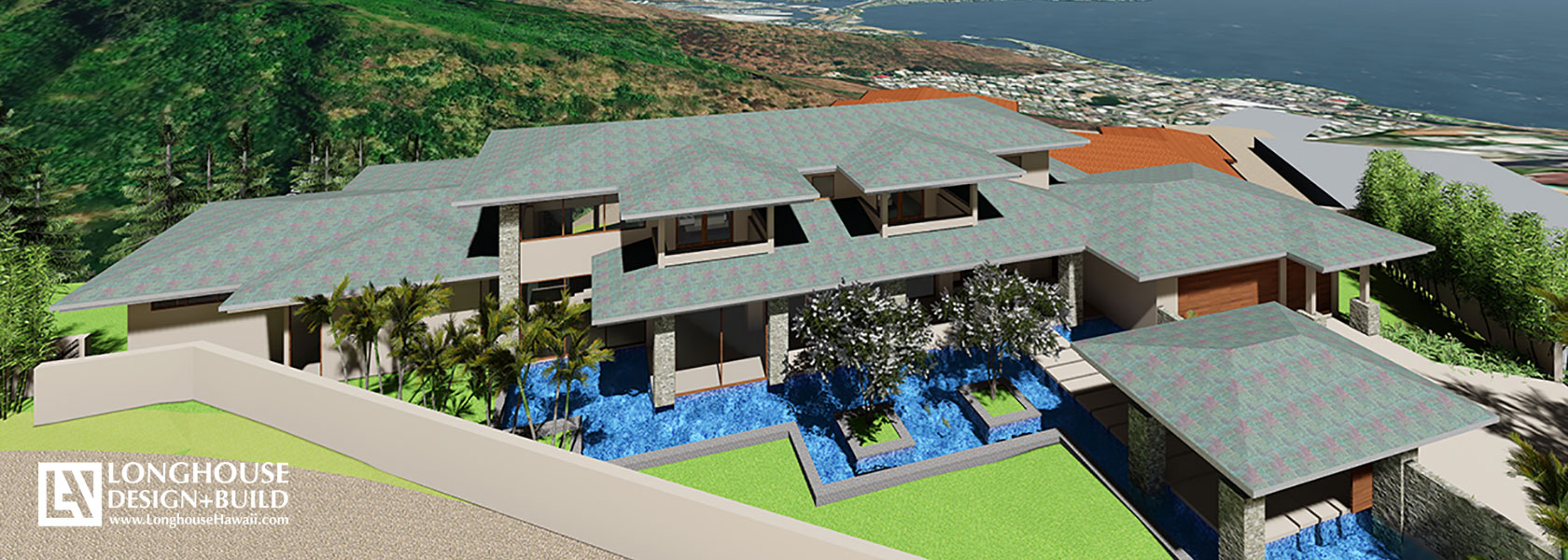 Mountain Residence - Birdseye View Architect rendering Hawaii Honolulu Hills